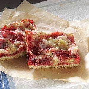 Gluten-Free Rhubarb Bars Recipe from Taste of Home -- shared by Lisa Wilson of Virginia, Minnesota