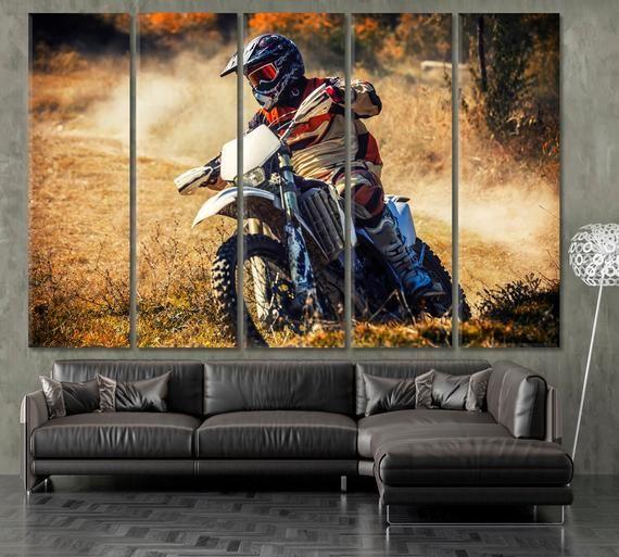 Bike Wall Art Dirt Bike Canvas Art Moto Sport Art Motocross Etsy Large Canvas Artwork Canvas Art Wall Art