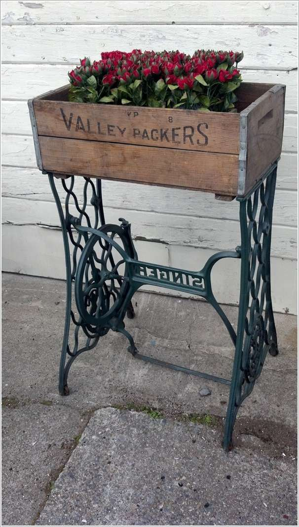 Old Sewing Machine Base Re Purposed Into A Primitive Planter With The  Addition Of An