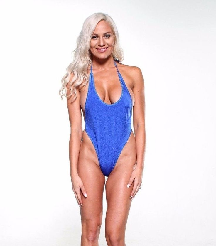 Solid Electric Blue Monokini Micro G-String Thong One Piece Extreme Swimwear