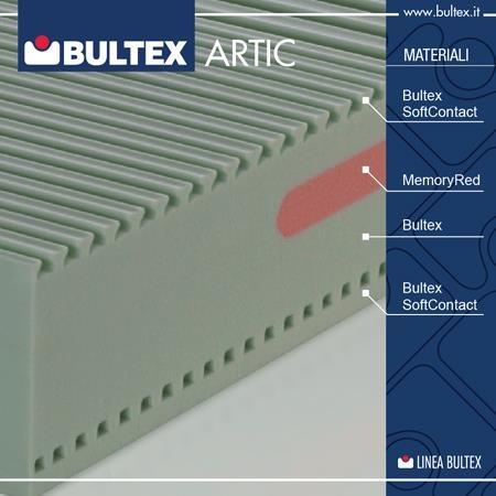 La particolare lavorazione della lastra in 4 materiali Bultex garantisce una traspirazione ottimale su qualsiasi base letto.     Il materasso Artic offre sensazioni di comfort differenziate sui due lati, per personalizzare il riposo a seconda delle proprie esigenze e preferenze.