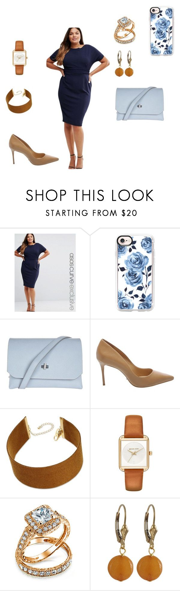 """""""Blue and Brown"""" by dgreene1051 ❤ liked on Polyvore featuring ASOS Curve, Casetify, Topshop, Schutz, Thalia Sodi, MICHAEL Michael Kors, Bling Jewelry, Luxiro and plus size dresses"""