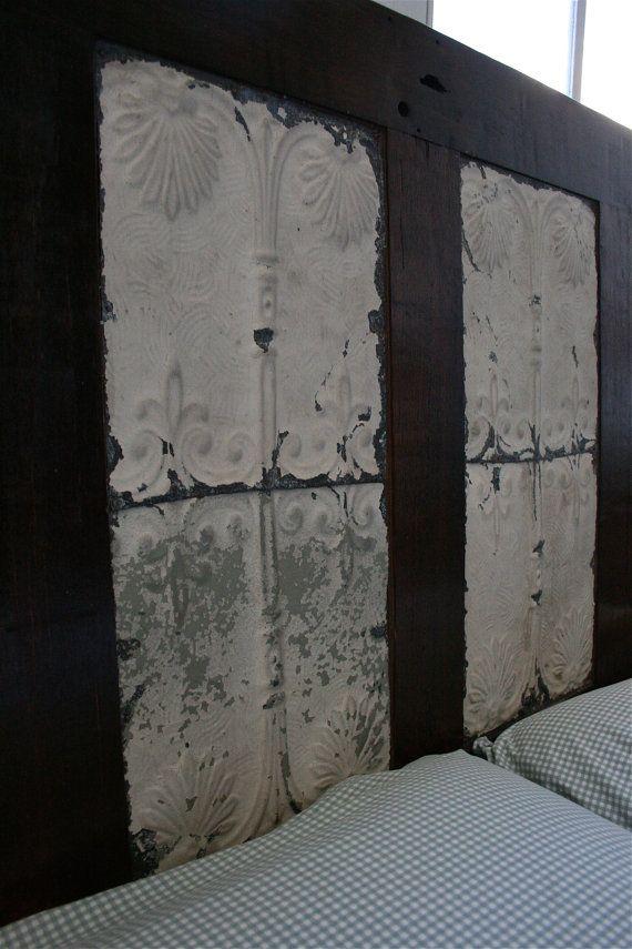Dark Wood Door Headboard with Fleur De Lis by DoormanDesigns, $700.00