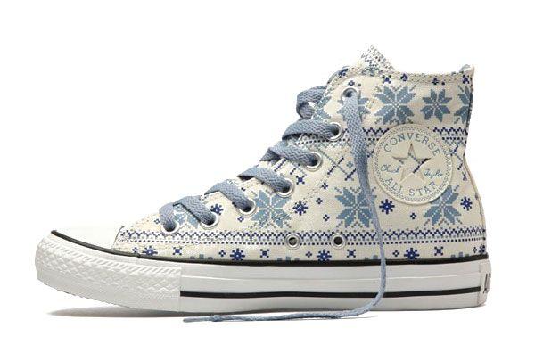 Converse Cotton Blue Snowflake Plaid Chuck Taylor All Star White Canvas High Top Winter Wear Shoes