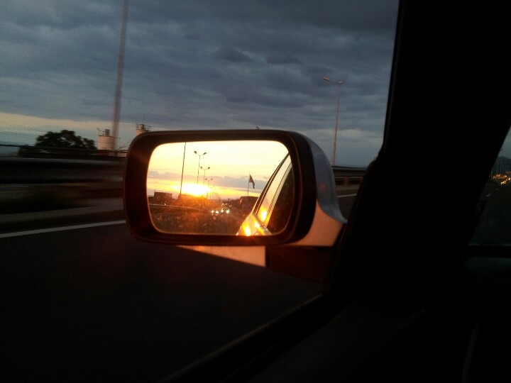 Sunset + Bulgarian flag + Nissan