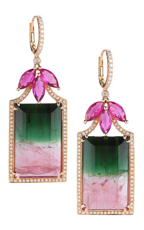 Watermelon Tourmaline, Rubellite, Gold And Diamond Earrings by Dana Rebecca for Preorder on Moda Operandi