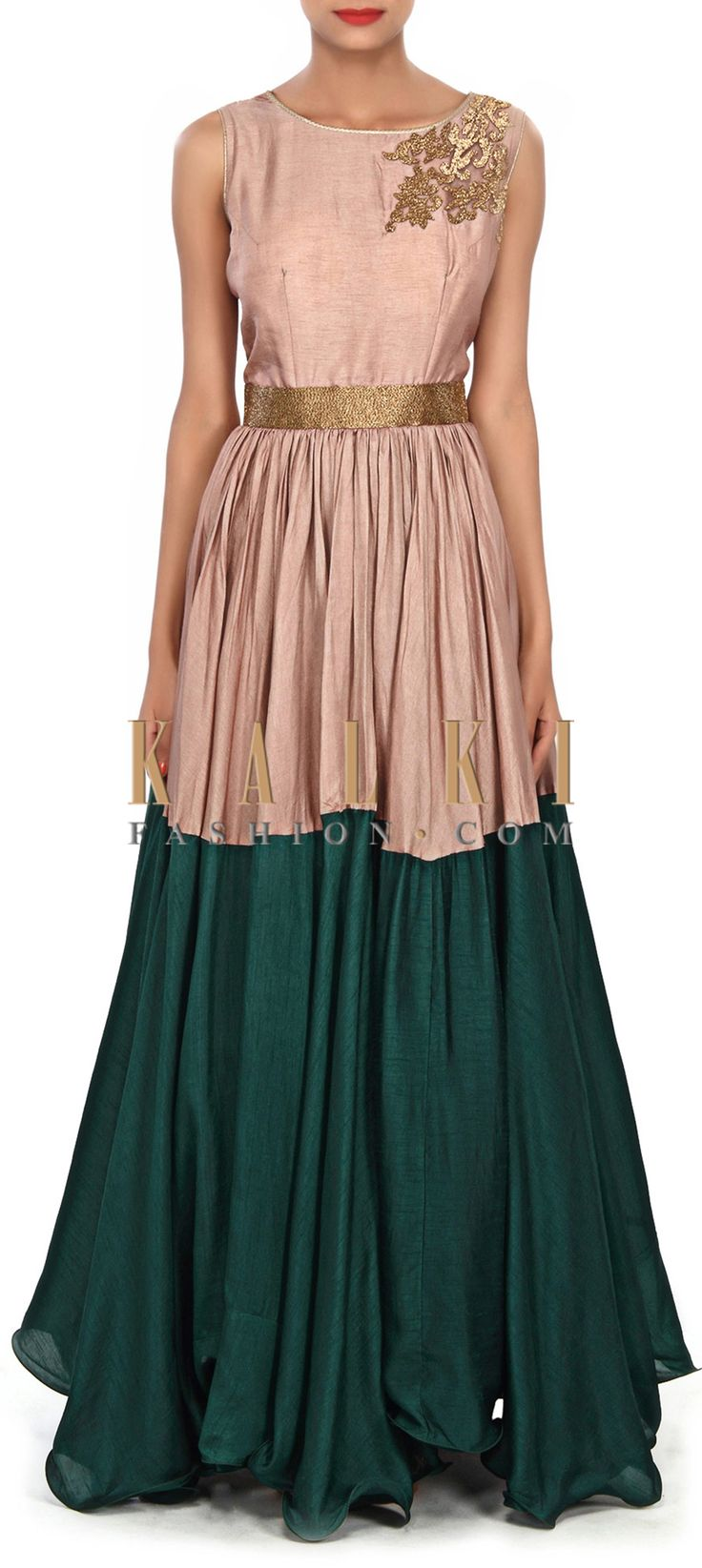 Buy Online from the link below. We ship worldwide (Free Shipping over US$100) Price-$219 Click Anywhere to Tag http://www.kalkifashion.com/brown-and-teal-dress-embellished-in-kardana-embroidery-only-on-kalki.html