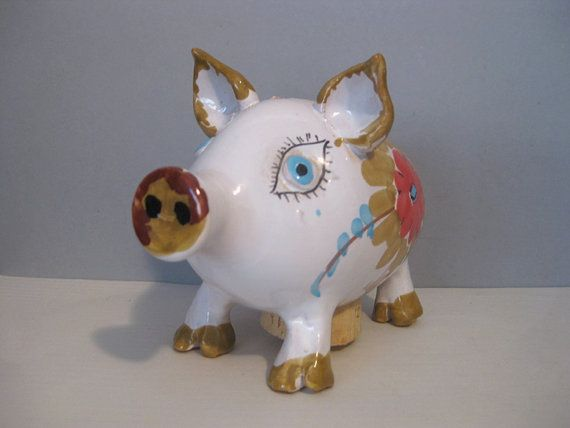 Midcentury Italian Ceramic Pig Bank Hand Painted by BBatEmporium
