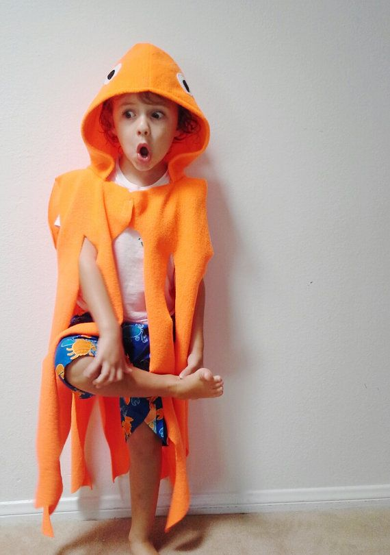 Orange Octopus Cape Halloween Costume or by SevenWhiteRabbits