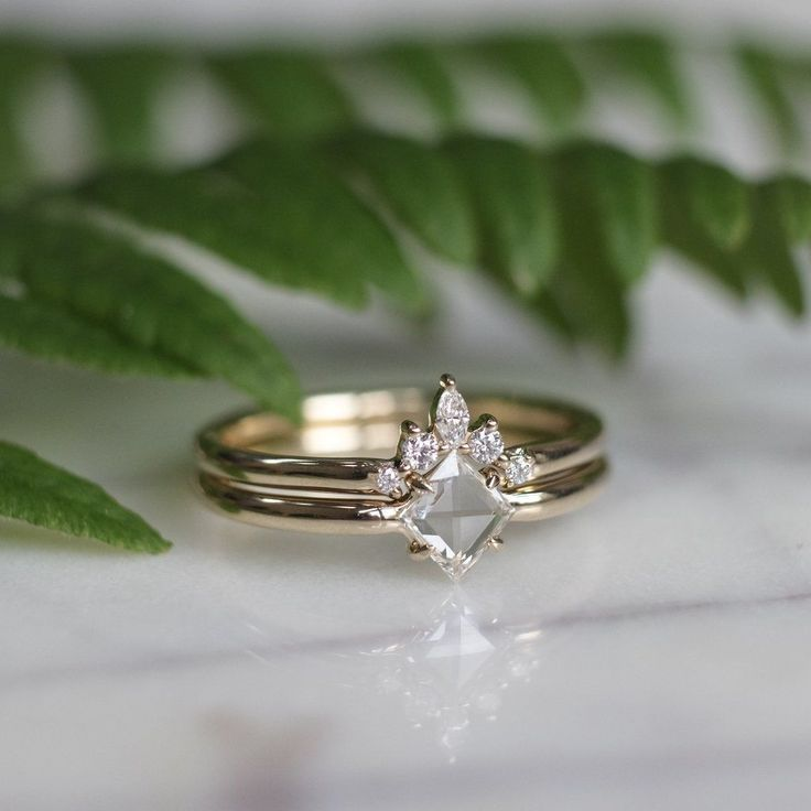 White/ Clear Geometric Diamond Engagement and Wedding Ring Set, 14k Yellow Gold …