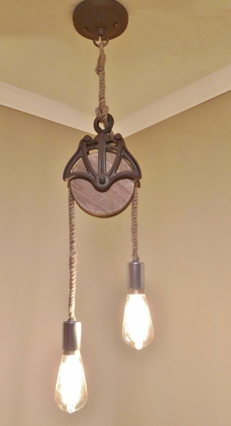 Ceiling Light Fixture - FARMHOUSE - STEAM PUNK - Wooden Pulley and Rope - CUSTOM | eBay