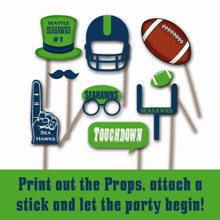 Seattle Seahawks Super Bowl 2014 Printable Photo Booth Props and Decorations