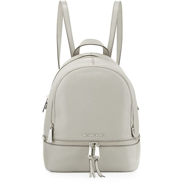 MICHAEL Michael Kors Rhea Small Zip Backpack (€275) ❤ liked on Polyvore featuring bags, backpacks, pearl gray, leather backpack, real leather backpack, leather bags, grey backpack and american backpack