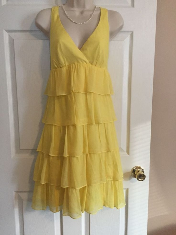 Beautiful J. Crew yellow tiered ruffle dress...perfect for Easter!  | eBay!