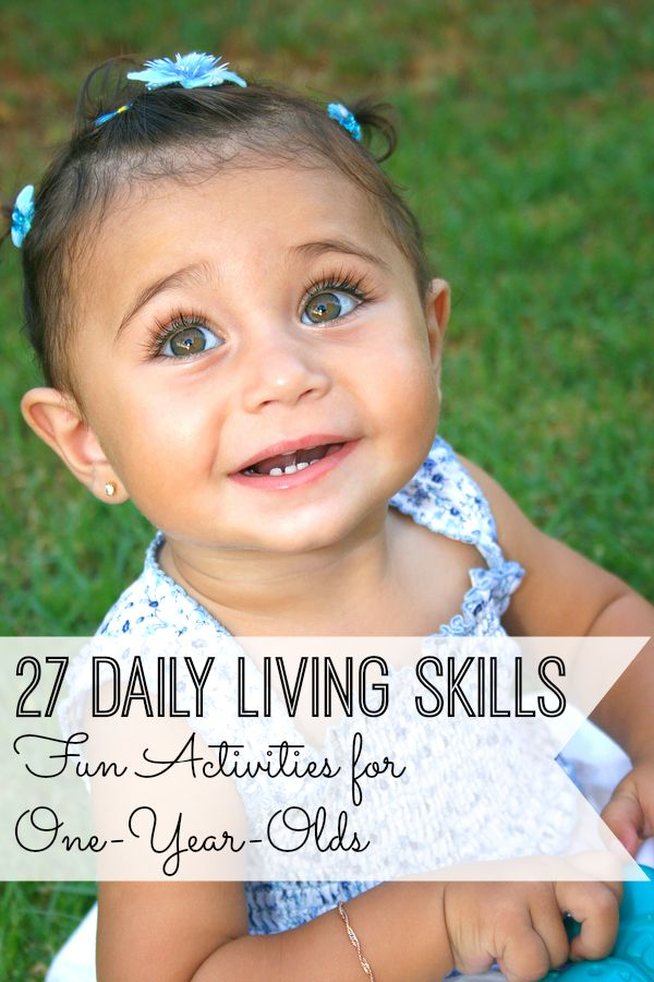 Practicing daily living skills helps promote independence! Enjoy these 27 daily living skills activities with your one-year-old!