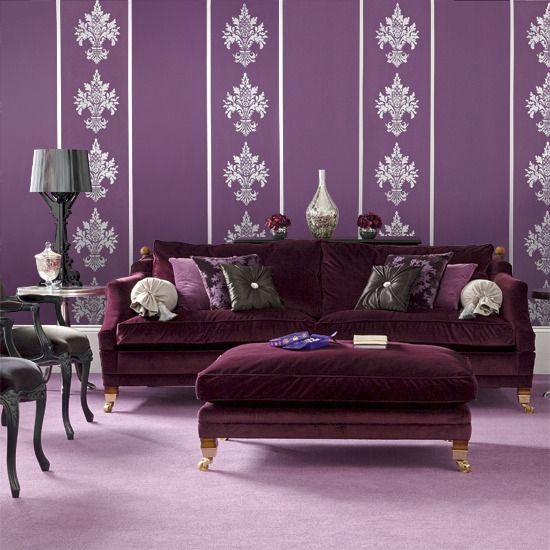 Purple And Black. Velvet SofaLiving Room ...