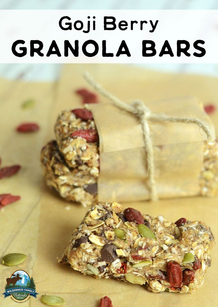 Goji Berry Granola Bars   Want to add superfoods to every-day foods? Perfect for school lunches, after-school snacks, road trips, and picnics, you'll love these nutritious goji berry granola bars!   WildernessFamilyNaturals.com