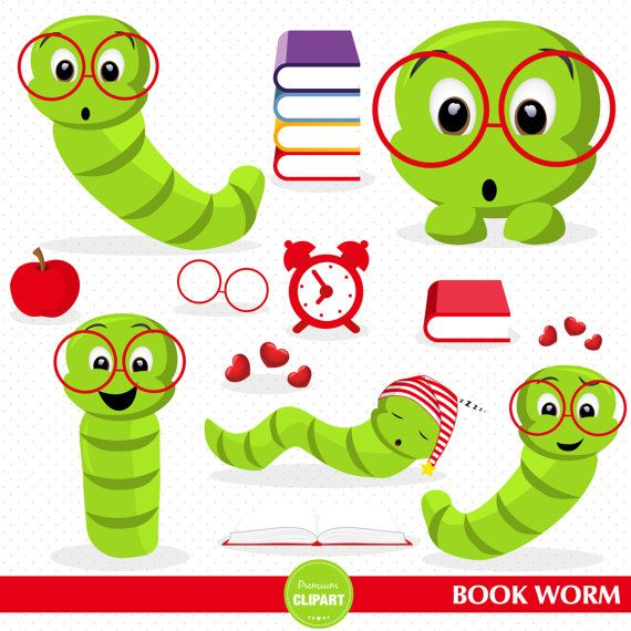 Book Worm Clipart Set This Clipart Set Is Just What You Needed For The Perfect Event Invitation Creations Scrapb Clip Art Book Worms Back To School Clipart