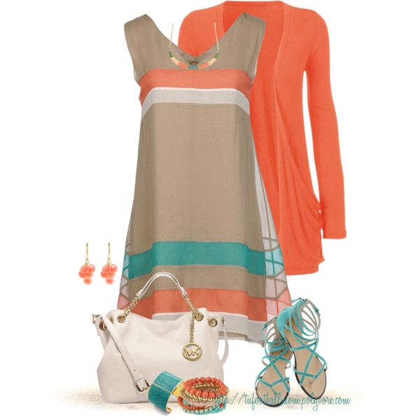 Coral & Aqua, created by tufootballmom on Polyvore