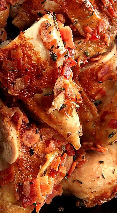Brick Chicken with Rosé Wine and Bacon