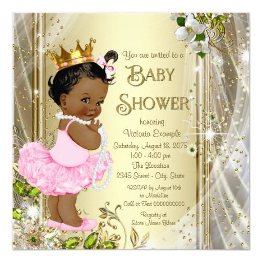 African American Princess Pink Tutu Baby Shower Invitation