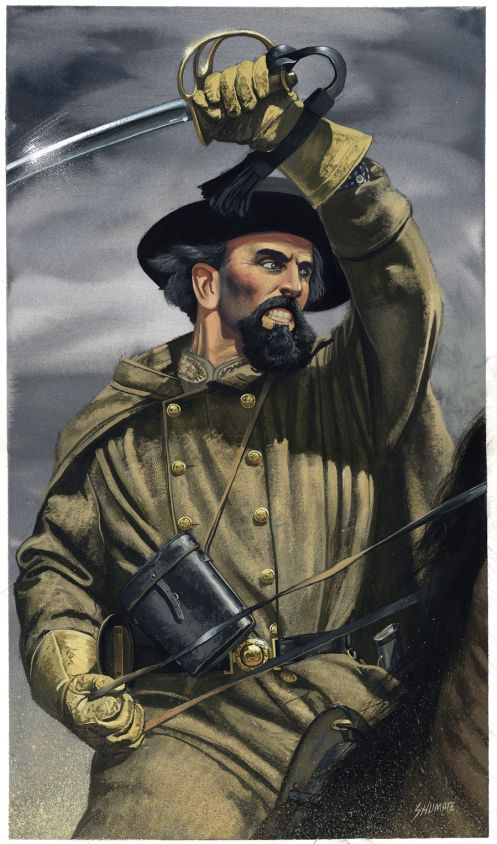 In the Battle of the Fallen Timbers NBF single handedly charged and entire Union Brigade not knowing his troops had halted their charge. He was shot in the back point blank but still managed to empty both his pistols and hack at the union troops with his saber and ride back to his regiment using a union soldier as a human shield.