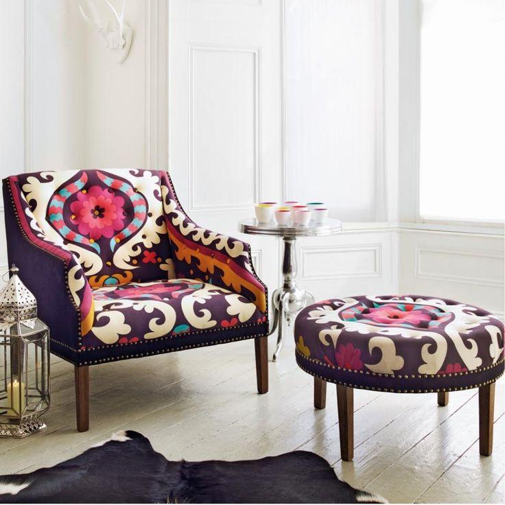 Suzani Print Bath Button Back Armchair - Sofas & Armchairs - Furniture