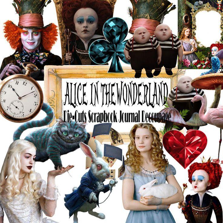 Alice in the wonderland,Tea Party,Die-Cut,ephemera Paper,Scrapbook Decoupage