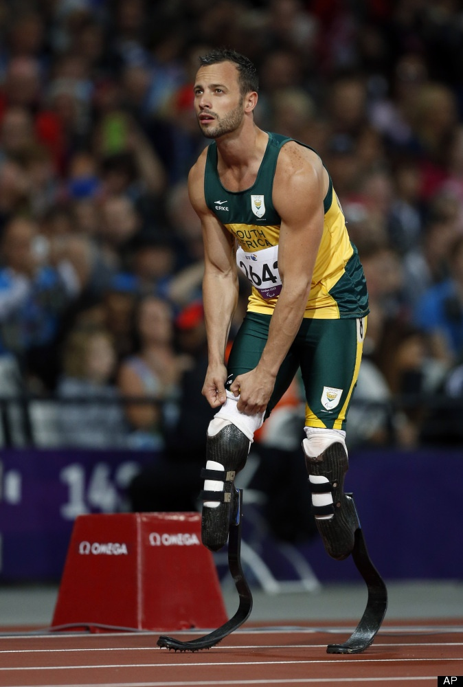 South African Oscar Pistorius preparing for the 200 m 2012 Paralympics