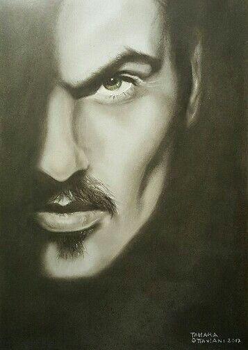 Ritratto in onore a George Michael...una voce unica ed emozionante rimarrà indimenticabile ♩ #rip #portrait #georgemichael #music