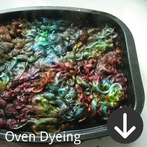 free PDF tutorial for how to dye wool yarn in an oven