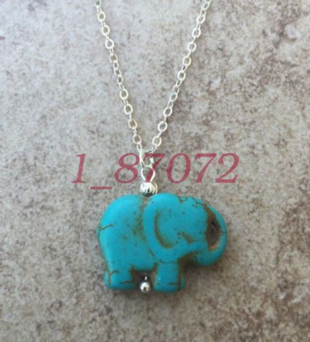 Natural-turquoise-elephant-pendant-18-inches-silver-chain-necklace