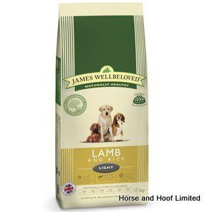 James Wellbeloved Lamb Rice Light Dog Food 1 5kg James Wellbeloved Lamb Rice Light Dog Food has been designed to help certain dogs lose weight whilst still satisfying their hunger.