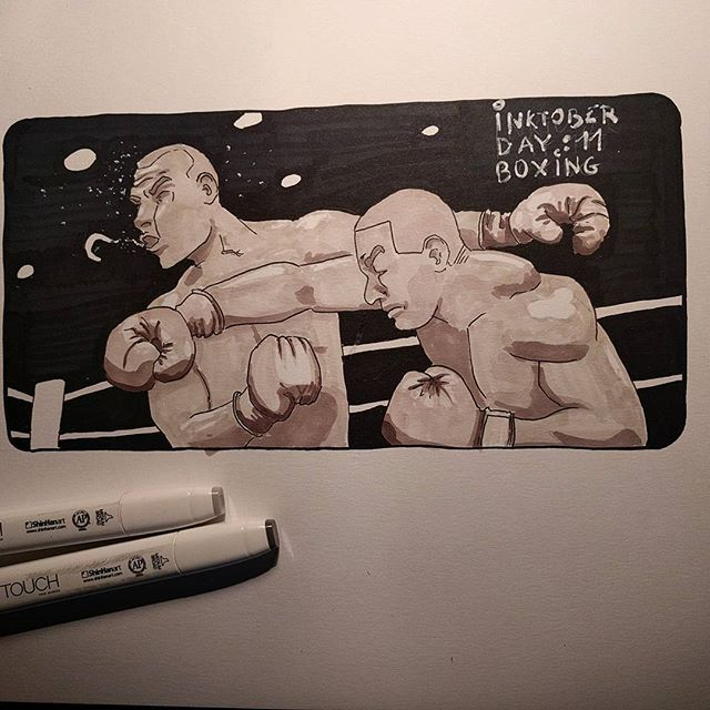 #inktober day 11: Boxing #inktober2016 #martialarts #boxing #boxingday #punch #art #drawing #touchnew #markers #illustration