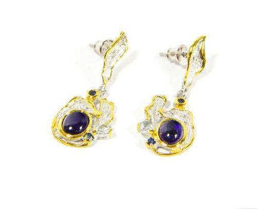 Sapphire Earrings 925 Sterling Silver