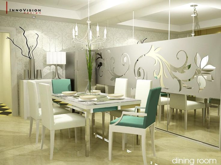 Modern White Dining Room Decorating Ideas With Mural Wall And Green Accent