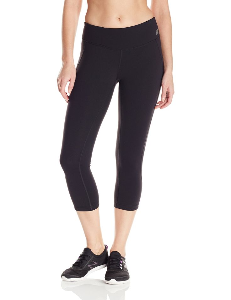 "New Balance Women's Premium Performance Fitted Capri, Black, X-Small. 19"" Inseam and NB Dry and NB Fresh. Contour Waistband With Power Mesh. Back Yoke detail. Top Edge Waistband Key Pocket. Reversible design."