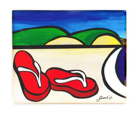 Sarah C Art Block Small: Red Jandals – www.themotelshop.co.nz