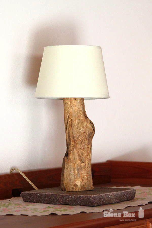 Lampada per arredo di interni… realizzata a mano con vero porfido trentino e legno...
