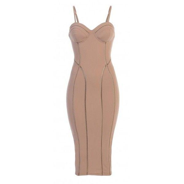 Beige Bombshell Bustier Dress ($48) ❤ liked on Polyvore featuring dresses, zipper dress, zip dress, bustier dress, nude dress and beige dress