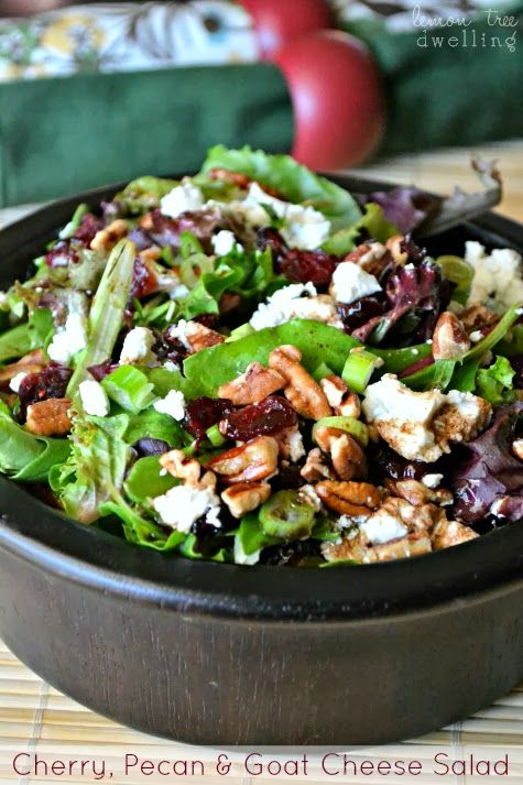 The perfect fall/winter salad- Cherry, Pecan Goat Cheese Salad with Homemade Balsamic Vinaigrette via Lemon Tree Dwelling