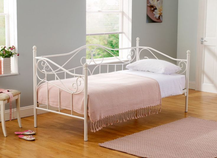Jasmine Black Metal Bed Frame Twin, LUSH and White daybed