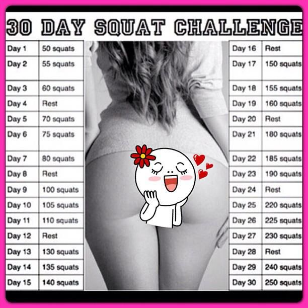 In Shape Mom: Squat Challenge - Month of March - Do the set amount each day for 30 days, no weight needed. Go as deep as possible, but use good form: knees behind toes. Drink water. Enjoy your results!