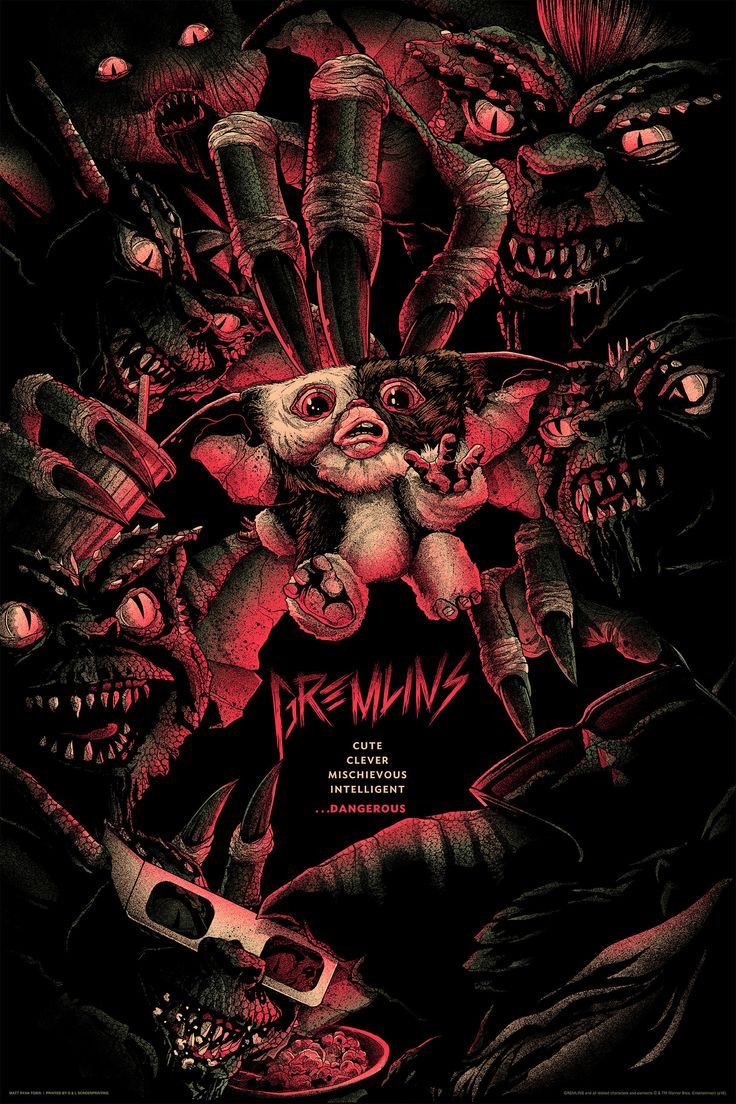 """Gremlins by Matt Ryan Tobin. 24""""x36"""" screen print. Hand numbered. Edition of 275. Printed by D&L Screenprinting. Expected to ship January 2017. $45"""