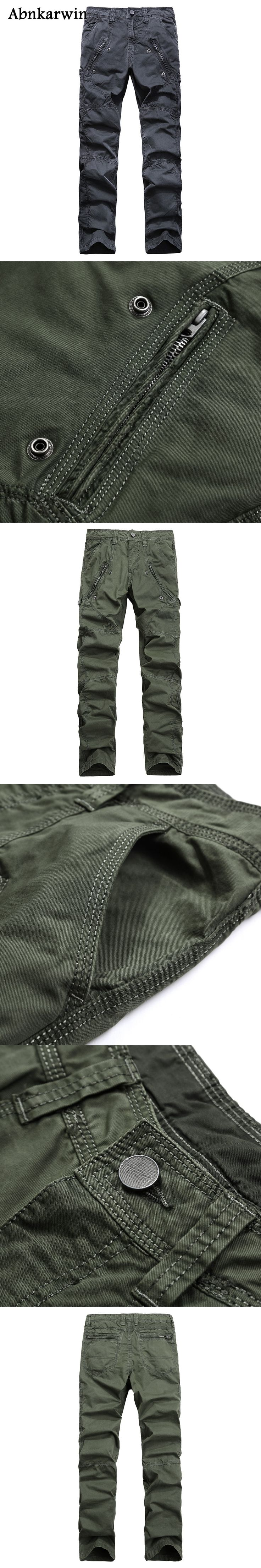 Abnkarwin 2017 New Brand Military Men Cargo Long Pants Multi Pockets Men's Pants Casual Baggy Trousers Overalls Army Pants