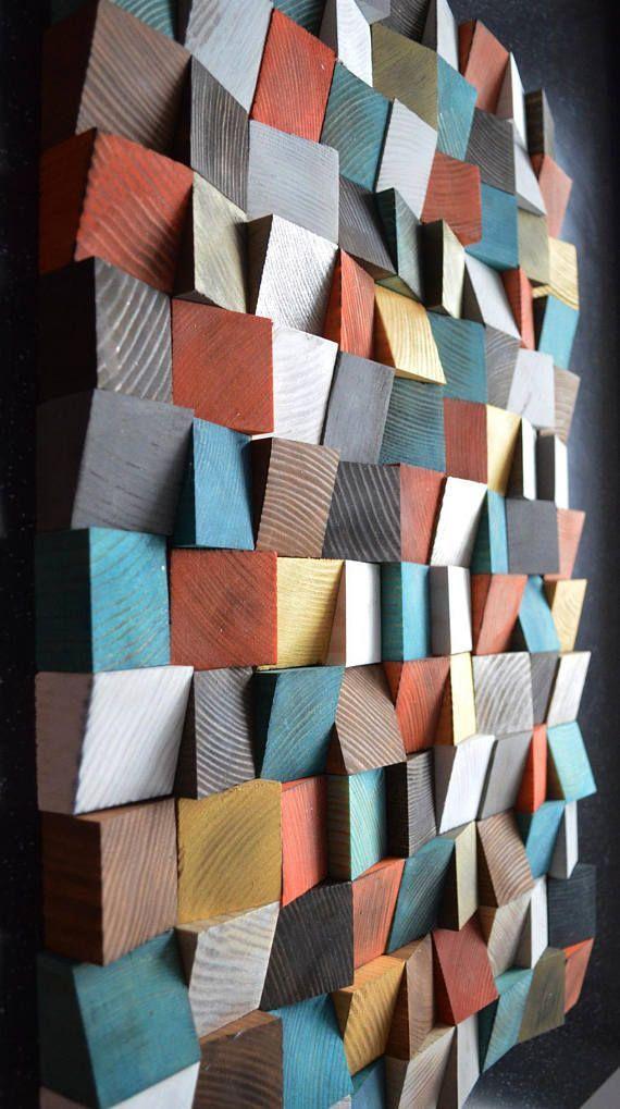 Geometrische Holzkunst, Holzkunst, 3D-Wandkunst, Holzmalerei abstrakte Kunst, Wandinstallatio…