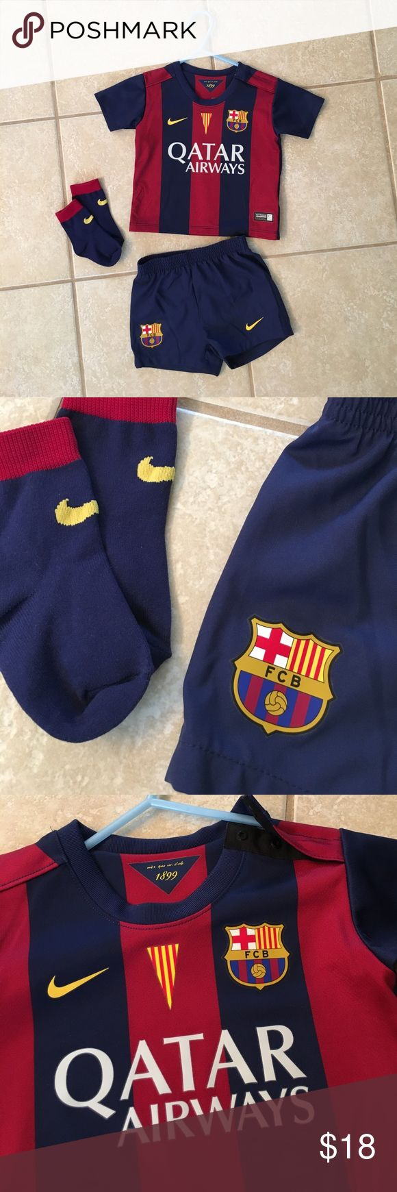 Authentic Nike FC Barcelona Uniform (Baby/Infant) Show off your soccer club pride! ⚽️ 🇪🇸 Set includes Nike Infant FC Barcelona jersey, shorts, and ribbed socks. Perfect condition other than a bit wrinkly. 100% Polyester and machine wash. Shoulder snaps for easy manueuver over baby's head. Very lightweight. Size 3-6 months Nike Matching Sets