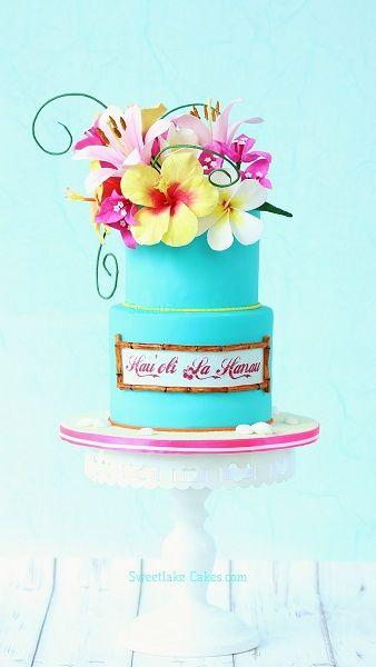 Hawaï taart met tropische bloemen van gumpaste / Hawaiian cake with tropical gumpaste flowers