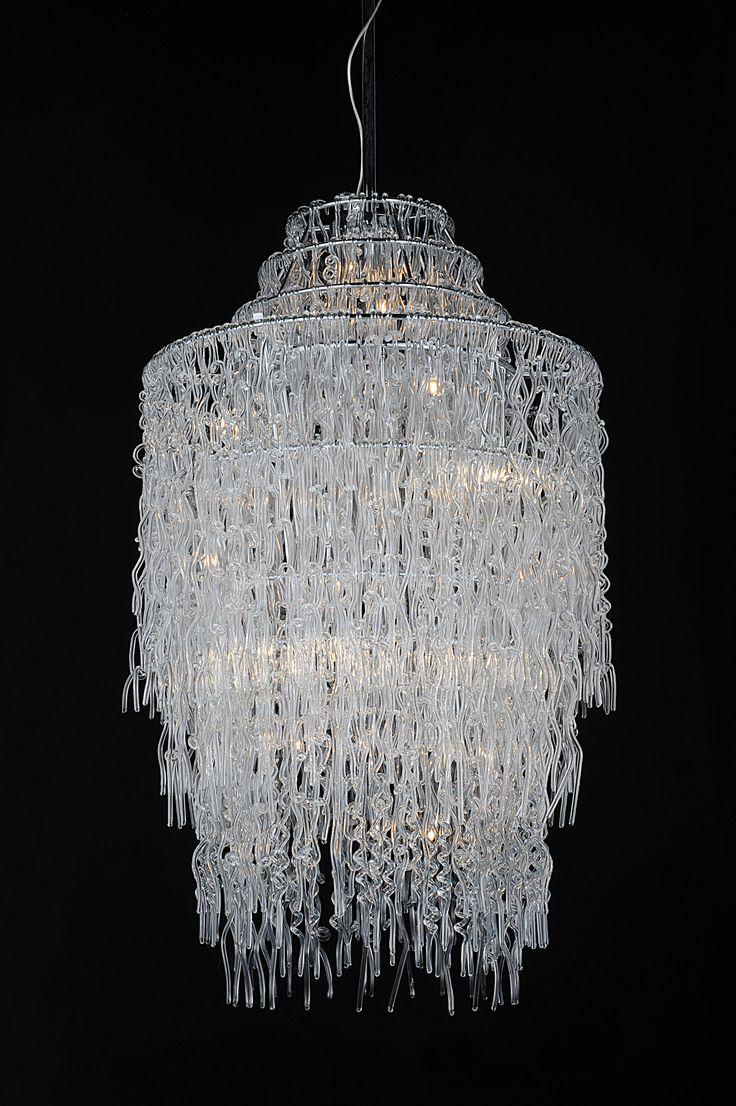 Drip Glass Chandelier Vetro Scvole 80cm X 140cm With 750 Watts Of Lighting Clear