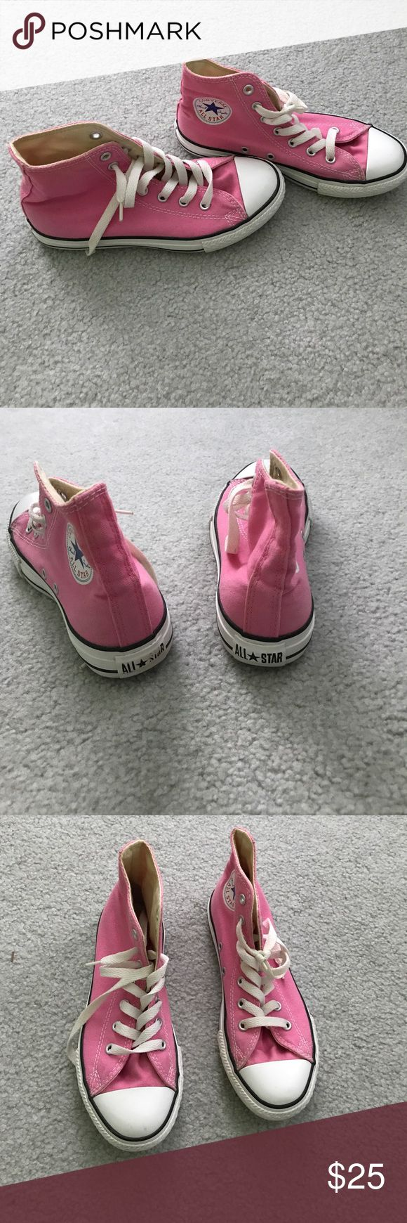 Pink high top Converse Pink high top converse size 3 kids - fits size 5/6 women's. little wear and tear on back but like brand new. Gently used Converse Shoes Sneakers